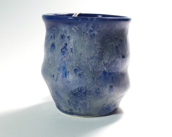 Unique Pottery Cup,Wine Cup,Whiskey Cup,Funky Cup,Handless Mug,Blue Pottery Cup, Ready to ship,Unusual Pottery Cup