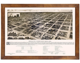 Amarillo, TX 1912 Bird's Eye View; 24x36 Print from a Vintage Lithograph