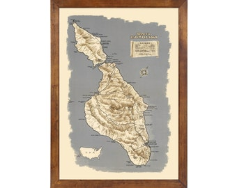 Map of Santa Catalina Island published in 1948; 24x36 Print on Premium Photo Paper