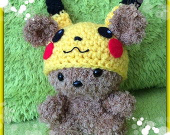 Crochet Scruffy Ted in his Pokemon outfit