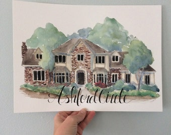 11x14 Playful watercolor home illustrations by CamdenKate