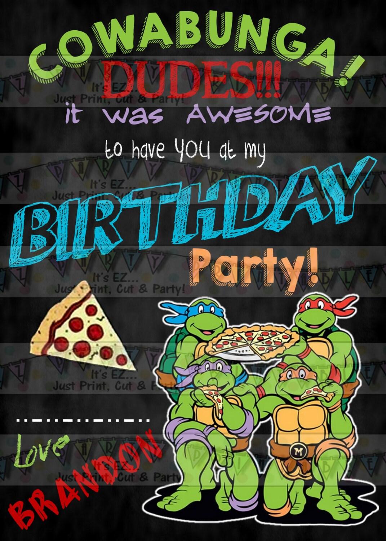 Teenage Mutant Ninja Turtle Birthday Invitations Thank you cards ...