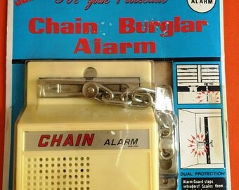 """Vintage Chain Burglar Alarm """"JUSTEN For Your Protection"""" Still in Package"""