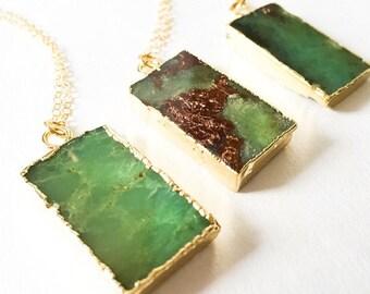 Chrysoprase Necklace Pendant Necklace Green Stone Necklace Gemstone Necklace Druzy Necklace Pendant Necklace Boho Jewelry