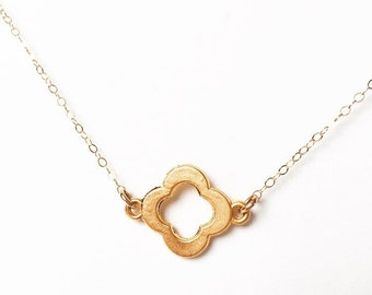 Gold Clover Necklace- Quatrefoil Necklace- Gold Necklace- Good Luck Necklce- Layering Necklace- Valentine's Day Gift- Everyday Necklace