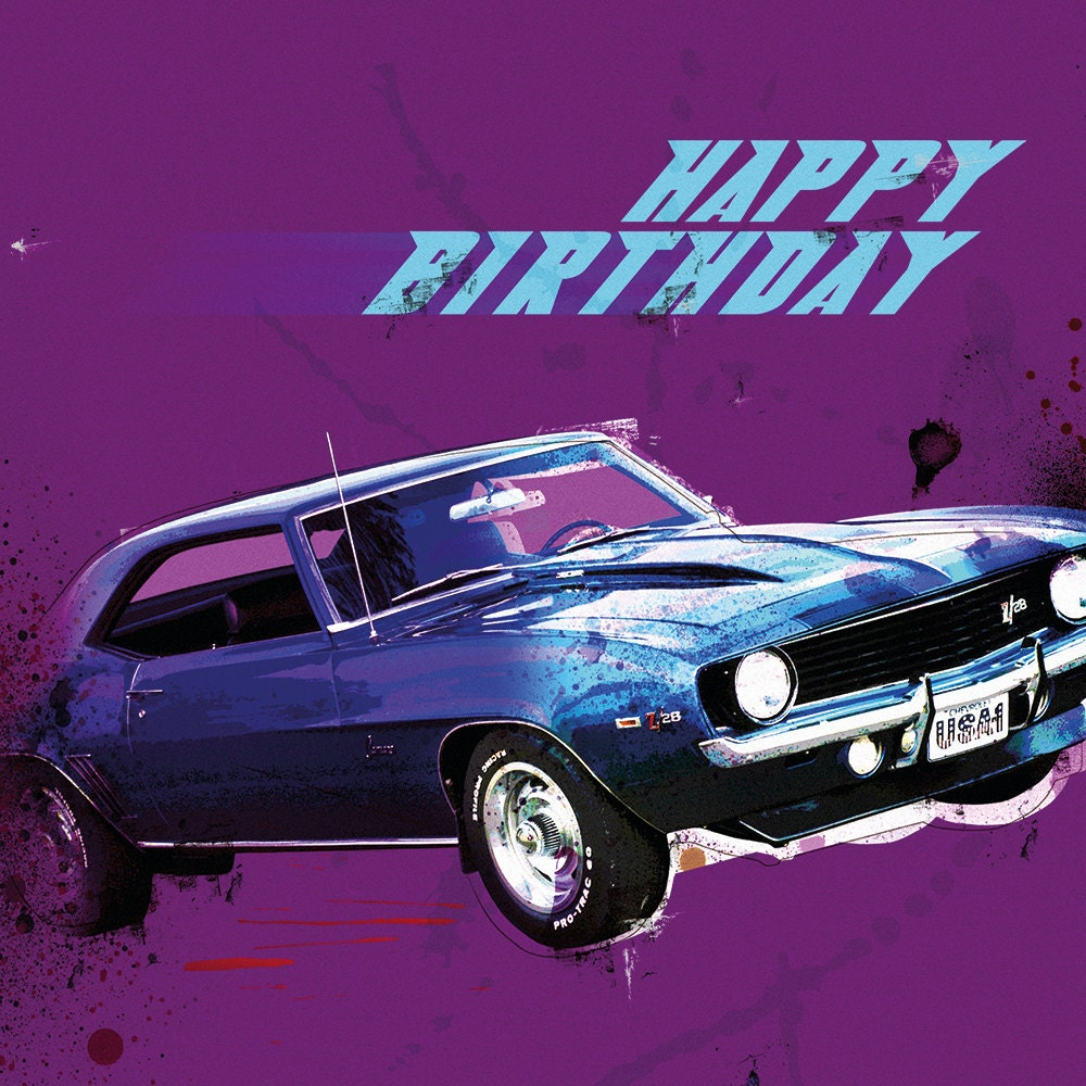 The Camaro Z28 Happy Birthday Card Boys Card Card By
