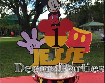 Mickey Mouse Centerpiece / Personalized Mickey Mouse Centerpiece 5 piece set (only the figure cutouts) for Birthday Party, Baby Shower