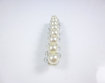 Pearl Barrette, Pearl and Crystal Barrette, Swarovski crystal elements and Pearls Hair Barrette, Hair Clip