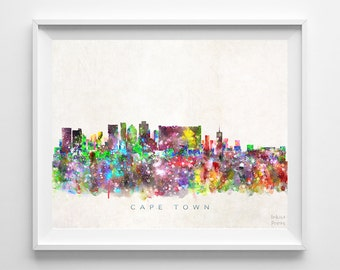 Cape Town Skyline, South Africa Print, Watercolor Painting, Wall Art, Cityscape, Giclee Art, City Painting, Home Decor, Back To School