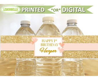 Pink and Gold Water Bottle Labels, Gold Water Bottle Labels, Pink and Gold Party Decoration, Heart Birthday Decoration,  LemonBells, WP05