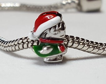Christmas Charm/Spacer-Christmas Girl Charm-Dressed up Green Dress with Santa Hat--Fits all Designer and European Charm Bracelets*