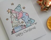 Christmas tree card, Xmas card, Happy Christmas card, Christmas decorations card, festive card, child Christmas card, Christmas wishes card