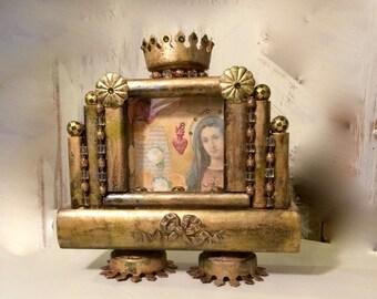 Wooden Virgin Mary Shrine -  rosary holder - Altered  shrine art  - Catholic gift - Home decor shrine - devotional object - Prayer alter -