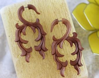 Wood Khaleesi Fake Plugs - Fake Stretch Plug Wood Earrings  -  Wood fake gauge Hand Carved Khaleesi Fake Stretch Gauged Earrings - A061
