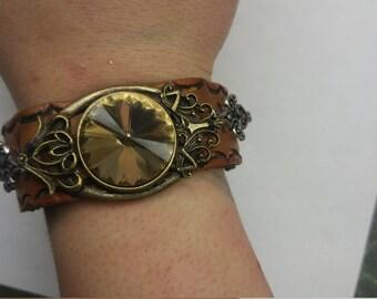 Leather Gem Bracelet