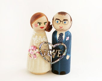 Wedding Cake toppers heart love - Couple Cake Topper wood - wedding cake figurines - Todo customize
