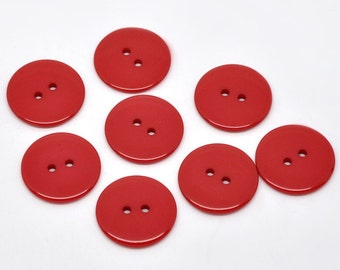 Pack of 25 Red Resin Buttons 23mm.  Sewing Knitting Scrapbook and other craft projects