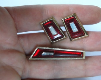 Vintage Art Deco Cuff Links, Red with white stone centers and Tie Clip