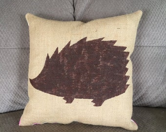 Shabby chic burlap pillow, hedgehog pillow, decorative rustic burlap pillow, painted burlap
