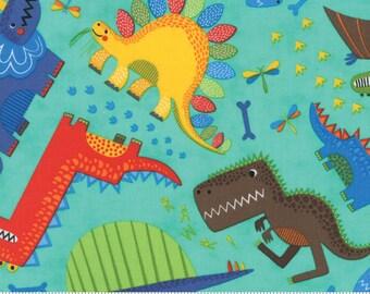 Moda Jurassic Jamboree Dinosaur Fabric, 35290 14 Aqua, Abi Hall, Aqua Cotton Dinosaur Quilt Fabric, Baby Quilt Fabric, Boys Fabric