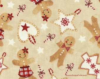 Gingerbread Cookies Fabric, Timeless Treasures Holiday Jolly C4524 Tan, Christmas Cookie Fabric, Red & Cream, Christmas Cotton Quilt Fabric