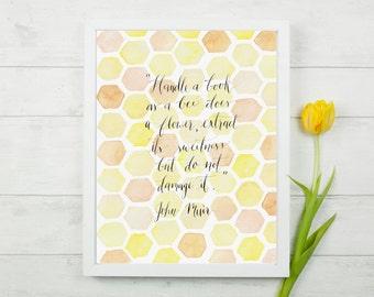 John Muir calligraphy quote for book lovers, orange & yellow honeycomb watercolor, 8x10 print