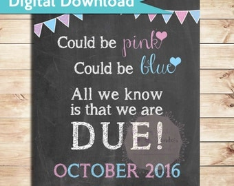 Digital Download, Pregnancy announcement, sign, Could be pink, could be blue, All we know is that we are due, poster, announcement, due date
