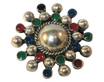 Mexico  Colorful Sterling Pin / Vintage Sterling / Collectible Jewelry / Fashion Jewelry