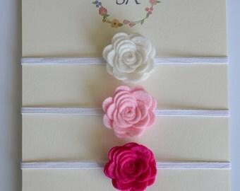Felt Flower Headband -  Pick 3 Colors - Felt Baby Headband, Newborn Headband, Baby Girl Headband, Flower Headband