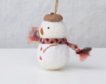 Christmas ornament needle felted snowman ornament, handmade Christmas ornament, Needle felted Christmas decoration, Christmas tree deco