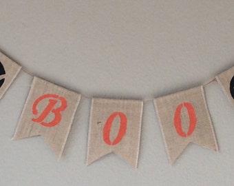 Halloween BOO Hessian Burlap Bunting Banner