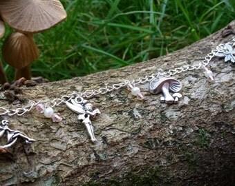Fairy charm bracelet, charm bracelet, fairy jewellery, fairy bracelet, fairy jewelry, silver plated charm fairy bracelet, fairy, charms