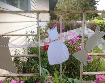 Glitter Grey White Wedding Dress Garland - Bridal Shower Decoration