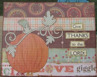 Give Thanks to the Lord 8 x 10 Mixed Media Art Canvas
