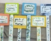 Fused Glass Plant Stakes, Fused Glass Plant Markers, Garden Plant Markers, Garden Art, Garden Stakes, Decorative Garden Stakes, Glass Stakes
