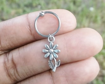 316L Surgical Steel sunflower captive ring Helix, cartilage, earring