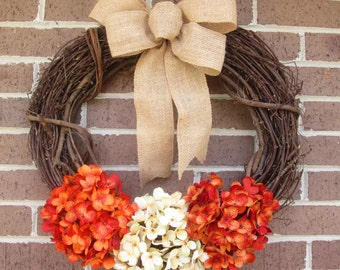 Grapevine Wreath, Grapevine Hydrangea Wreath, Grapevine Door Wreath, Fall Wreath, Year Around Wreath,