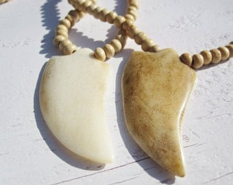 Natural Wood & Bone Necklace, Tribal Chic, Boho