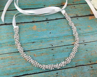 Crystal Wedding Headband, crystal ribbon headband, wedding headpiece, rhinestone tiara, rhinestone, crystal bridal accessories 270831578