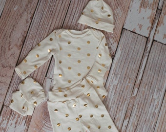 Newborn Coming Home Baby Bodysuit, Pants, Hat, Scratch Mittens Set Cream with Gold Polka Dots,