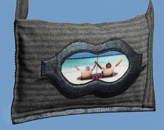 single product creator bag, tablet bag, 3D effect, textile art