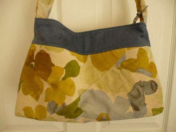 Yellow Floral/Blue Purse Diaper Bag