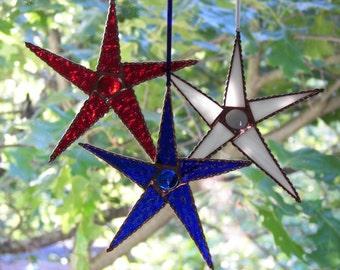 Stained Glass Star set of Three, Red Star, White Star, Blue Star, Star Suncatcher ,