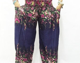 Women Trouser Pants Yoga Pants Aladdin Pants Maxi Pants Baggy Pants Gypsy Pants Rayon Pant Hippy Pants Trouser Flower Black Blue Tone.