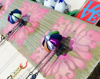 Reclaimed wood Necklace holder /jewelry wall hanger /recycled wood storage organizer boho wall rack stenciled pink mandalas 4 knobs 5 hooks
