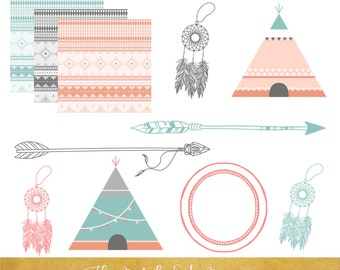 Native American Clipart - INSTANT DOWNLOAD - .png and .jpeg files