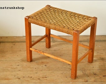 SOLD SOLD SOLD stool vintage mid century wood wooden string top a