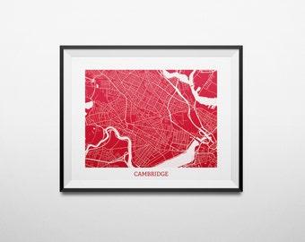 Cambridge, Boston, Massachusetts Abstract Street Map Print