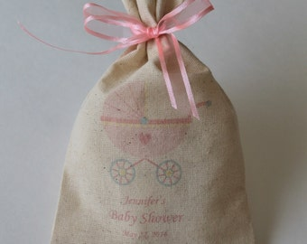 20 Personalized Baby Shower Favor Bag Baby Girl Favor Bags Natural Rustic Bag Shabby Chic Favor Bag Rustic