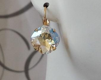 Swarovski Crystal Drop Earrings Bridal Moonlight Crystal Earrings Elegant Clear Rhinestone Earrings Gold Drop Swarovski Clear Crystals